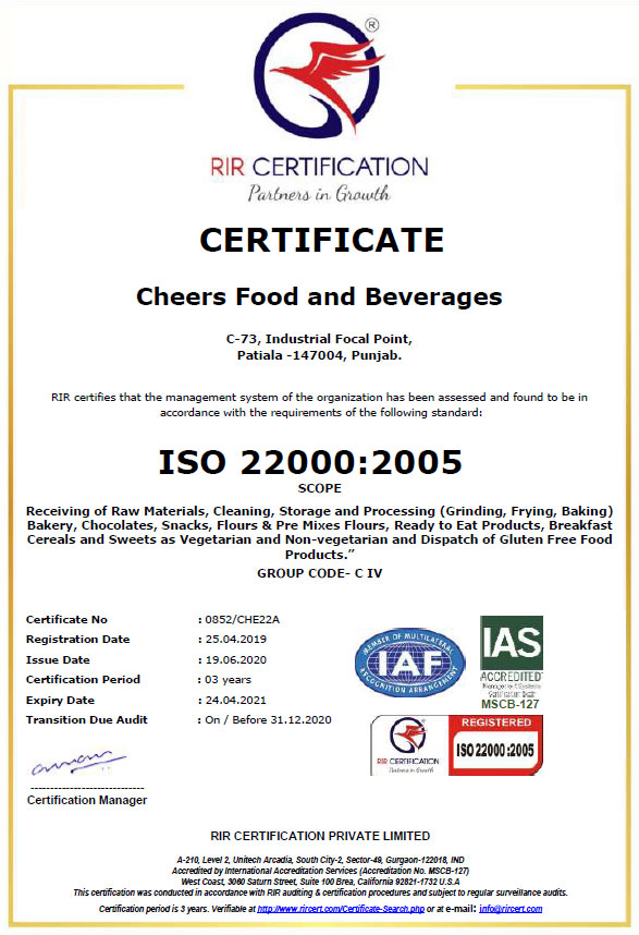 Wheafree ISO Certificate - ISO 22000:2005